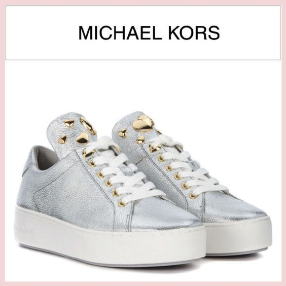Nwt Michael Kors Silver Leather Mindy